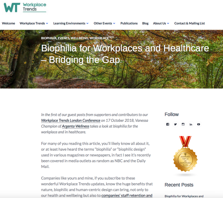 Biophilia in Workplace and Healthcare